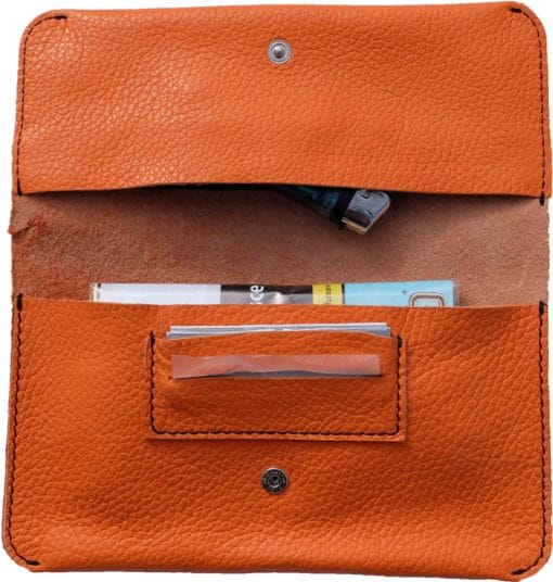 Porta tabacco grande in vera pelle col. Arancione e Nero