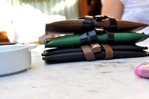 Porta tabacco in pelle bicolor