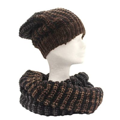 Knitted neckwarmer and cap col. Brown and Grey