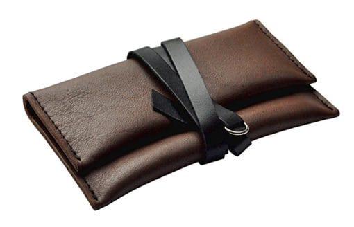 Porta tabacco in pelle Marrone/Nero