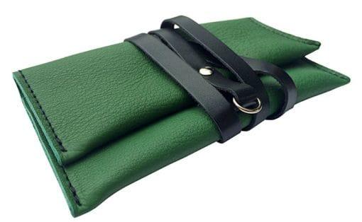 Porta tabacco in pelle Verde/Nero