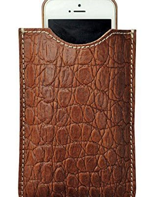 Smartphone case in real leather Croco printed