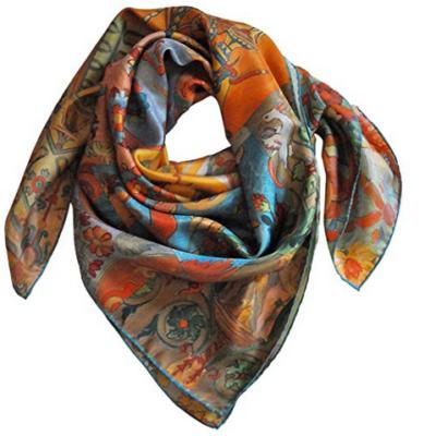 Foulard di seta disegno Toscana col. Arancione