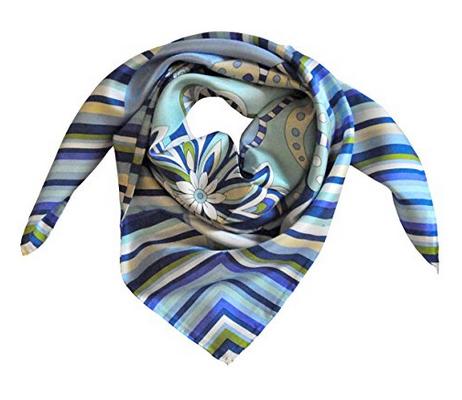 Foulard in seta con righe e fiori Col. Azzurro e Bianco
