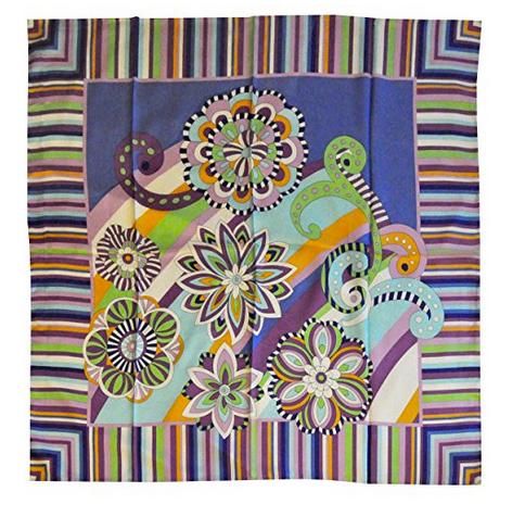 Foulard in seta con righe e fiori Col. Viola, Bianco e Verde