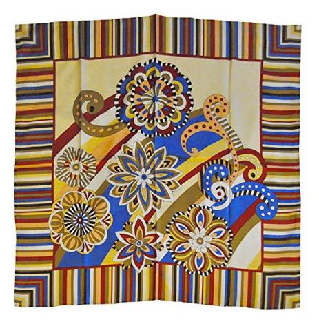Foulard in seta con righe e fiori Col. Crema, Rosso e Blu