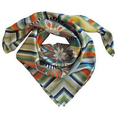 Foulard in seta con righe e fiori Col. Giallo e Arancio