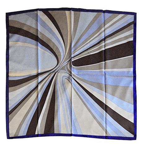 Foulard in seta con disegno moderno col. Variazioni di Blu