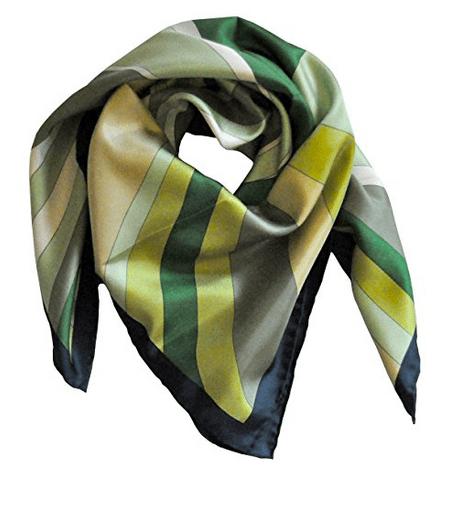 Foulard in seta con disegno moderno col. Variazioni di Verde