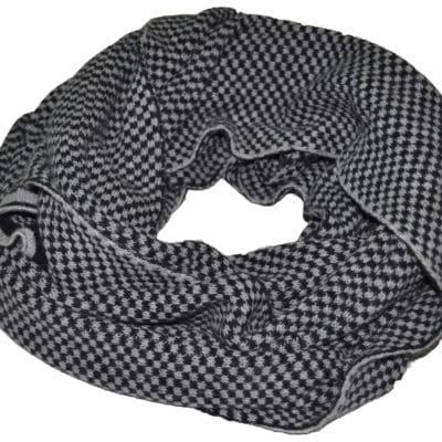 Bicolor scarf cashmere blended col. Black