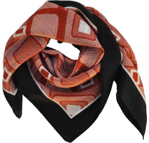 Foulard in seta con disegno geometrico col. Bruciato