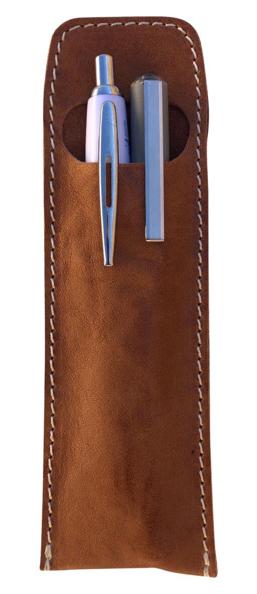 Astuccio portapenne portamatite in vera pelle stropicciata