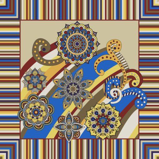 Foulard di seta di raso con disegno a fiori patchwork Crema
