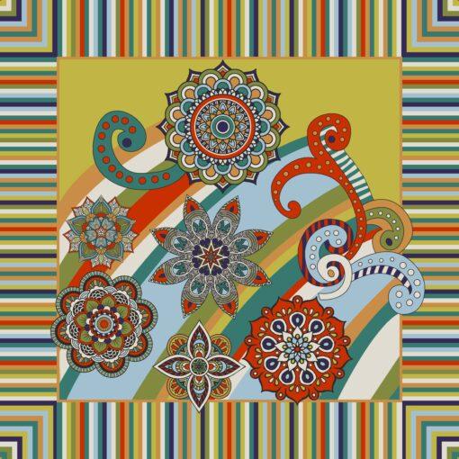 Foulard di seta di raso con disegno a fiori patchwork Giallo