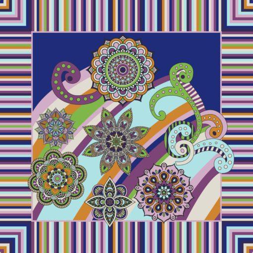 Foulard di seta di raso con disegno a fiori patchwork Viola