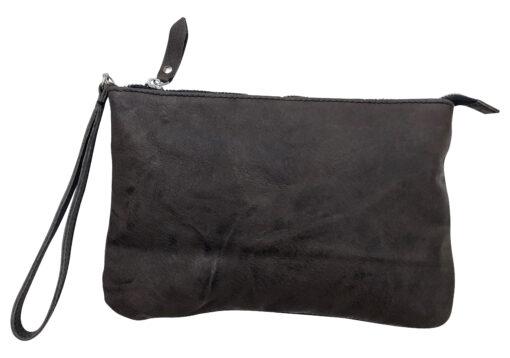 Borsetta pochette borsa a mano in vera pelle stropicciata