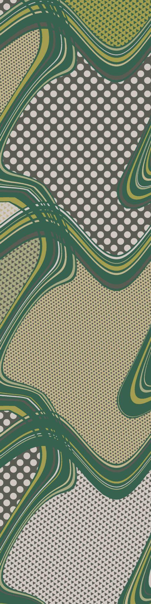 Sciarpa di seta a Righe e Pois Verde